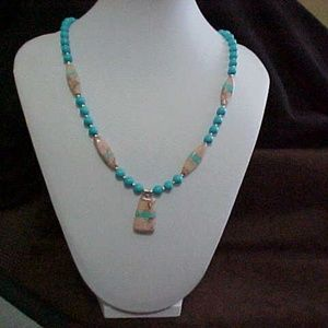 Sleeping Beauty and Ribbon Turquoise  Necklace